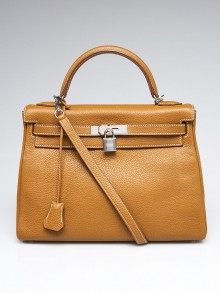 Hermes 32cm Bi-Color Kraft Togo and Anemone Chevre Leather Palladium Plated Kelly Retourne Bag