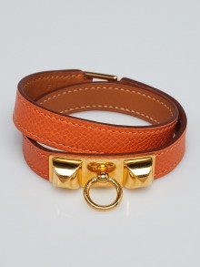 Hermes Orange Epsom Leather Gold Plated Rivale Double Tour Bracelet Size S