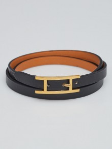 Hermes Black Swift Leather Gold Plated Be Hapi Double Tour Bracelet Size M