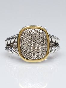 David Yurman 11mm Sterling Silver and Pave Diamond Albion Ring Size 8
