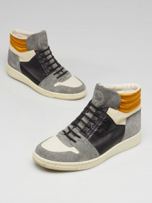 Gucci White Leather and Blue Suede Leather High Top Sneakers Size 7.5/38