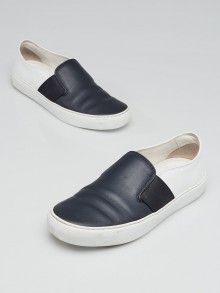 Chanel Navy Blue/White Leather Slip-On Sneakers Size 6.5/37