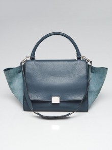 Celine Blue Pebbled Calfskin Leather and Suede Medium Trapeze Bag