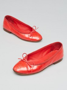 Chanel Light Red Patent Leather Cap Toe CC Ballet Flats Size 4/34.5