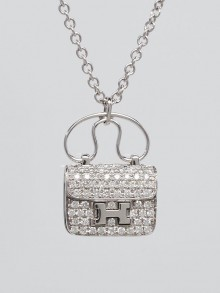 Hermes 18k White Gold and Diamond Constance Amulette Small Pendant