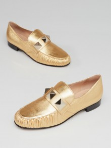 Valentino Gold Leather Rockstud Loafers Size 5.5/36