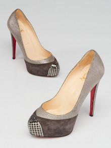 Christian Louboutin Grey Suede Leather and Steel-Toe Platform Maggie 140 Pumps Size 7/37.5