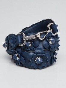 Fendi Blue Leather Flowerland Strap You Shoulder Strap