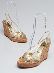 Christian Louboutin Gold Leather Cork Wedges Size 9.5/40