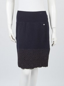 Chanel Navy Blue Cashmere Ribbed Skirt Size 4/38