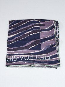 Louis Vuitton Blue/Purple Silk Striped Scarf