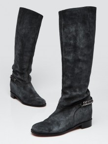 Christian Louboutin Grey Suede Cate Tall Boots Size 5.5/36