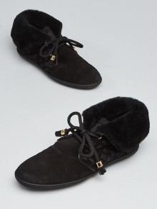 Louis Vuitton Black Monogram Suede and Fold Over Shearling Sneakers Size 5.5/36
