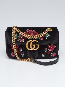 Gucci Black Quilted Velvet Beaded GG Marmont Mini Bag