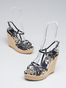 Christian Dior Blue Patent Leather Espadrille Wedge Sandals Size 8/38.5
