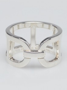Hermes Sterling Silver Ever Chaine d'Ancre Medium Ring Size 5