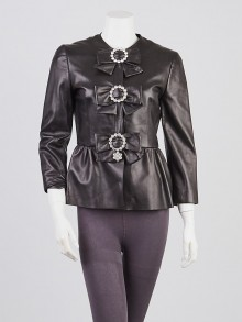 Gucci Black Lambskin Leather and Crystal Bow Leather Jacket Size 6/40
