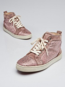 Christian Louboutin Pink Suede Crystal Bip Bip High Top Sneakers Size 10/40.5