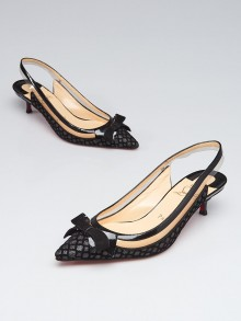 Christian Louboutin Black Patent Leather/Velvet and PVC Suspenodo Slingback Kitten Heel Pumps Size 6/36.5