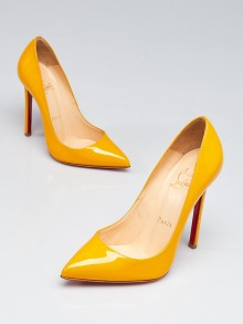 Christian Louboutin Yellow Patent Leather Pigalle 120 Pumps Size 5.5/36