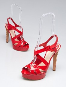 Christian Dior Red Patent Leather Cannage Heel Platform Sandals Size 9/39.5