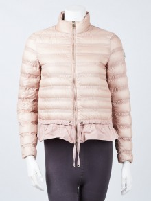 Moncler Nude Pink Quilted Nylon Down Anemone Jacket Size 00/XXS