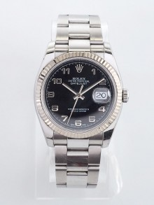 Rolex 36mm Stainless Steel and 18k White Gold Oyster Perpetual Datejust Watch 116234