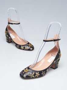 Valentino Black/Gold Leather and Sequin Star Ankle Wrap Tango Pumps Size 6/36.5