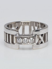 Tiffany & Co. 18K White Gold with Diamonds Atlas Open Ring Size 6
