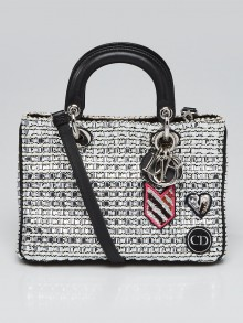 Christian Dior Metallic Silver Woven Tweed Patch Small Lady Dior Bag