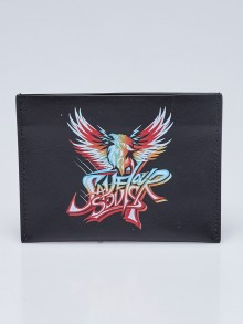 """Givenchy Black Calfskin Leather """"Save Our Souls"""" Card Holder"""