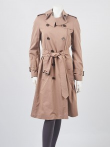 Burberry  Taupe Cotton Townly Trench Coat Size 6/40