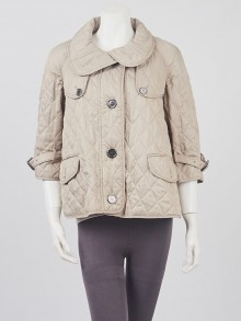 Burberry London Beige Diamond Quilted Polyester Swing Jacket Size XS