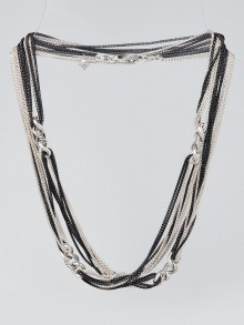 """David Yurman Sterling Silver Eight Row Curb Link Station 40"""" Necklace"""