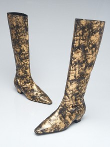 Chanel Gold Laminated Chevre Leather High Boots Size 8.5/39