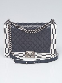 Chanel Black/White Quilted Lambskin Leather New Medium Boy Bag