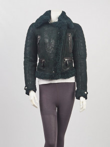 Burberry Black Lambskin Leather and Shearling Moto Jacket Size 4/38
