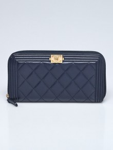 Chanel Navy Quilted Lambskin Leather Boy Long Zipped Wallet