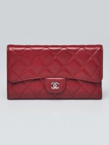 Chanel Red Quilted Lambskin Leather L Flap Wallet