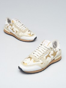 Valentino White/Beige Leather/Suede Patchwork Star Rockstud Sneakers Size 6/36.5
