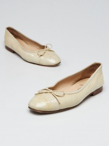 Chanel Beige Patent Embossed Leather Cap Toe CC Ballet Flats Size 7/37.5