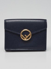 Fendi Navy Blue Calfskin Leather Micro Trifold Compact Wallet 8MO395