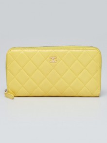 Chanel Yellow Quilted Lambskin Leather L-Gusset Zip Wallet