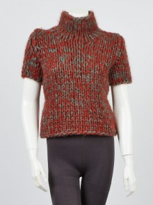 Chanel Red/Grey Knit Mohair and Wool Short Sleeve Sweater Size 10/42