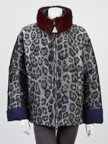 Moncler Grey Polyester and Mink Animal Print Giuturna Puffer Jacket Size 4/XL