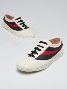 Gucci Off White Leather Falacer Low Top Sneakers Men's Size 7.5