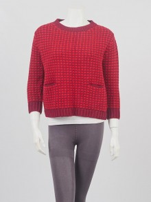 Prada Red Knitted Wool Crew Neck Sweater Size 40