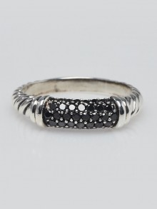 David Yurman Sterling Silver and Black Diamond Cable Candy Metro Ring Size 9.5