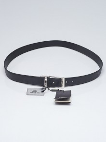 Fendi Black Textured Leather Reversible Belt