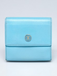 Chanel Light Blue Leather CC Compact Wallet